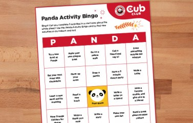 Panda Bingo Activity Card